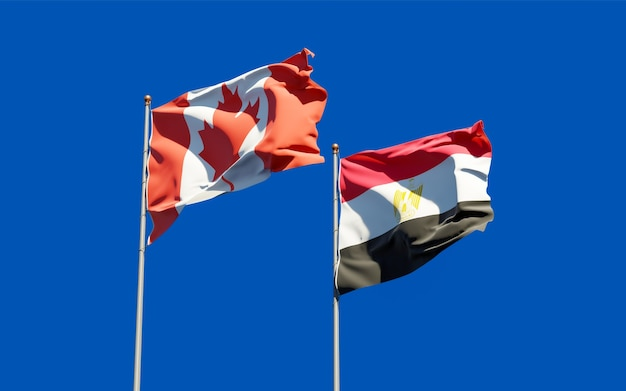 Flags of egypt and canada. 3d artwork