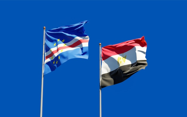 Flags of egypt and cape verde. 3d artwork
