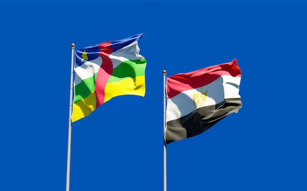 Flags of egypt and car central african republic. 3d artwork