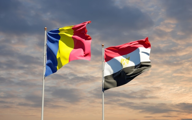 Flags of egypt and chad. 3d artwork