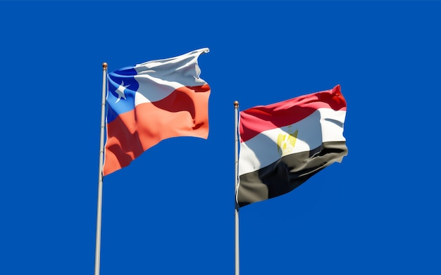 Flags of egypt and chile. 3d artwork