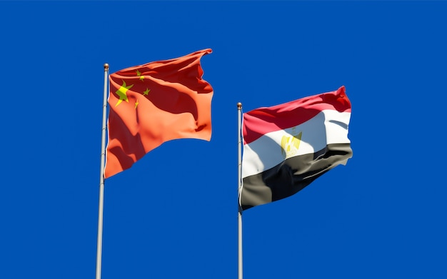 Flags of egypt and china. 3d artwork