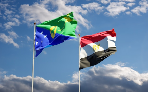 Flags of egypt and christmas island. 3d artwork