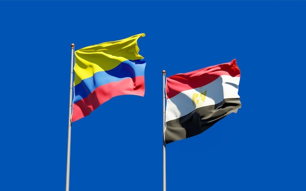 Flags of egypt and colombia. 3d artwork