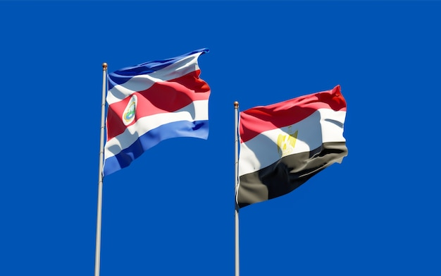 Flags of egypt and costa rica. 3d artwork