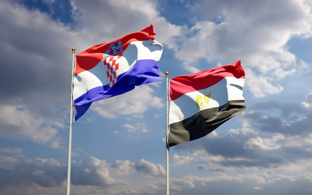 Flags of egypt and croatia. 3d artwork