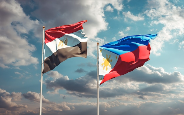 Flags of egypt and philippines. 3d artwork
