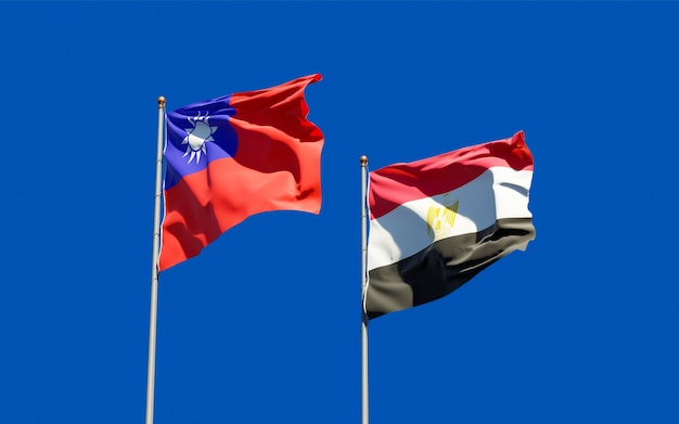 Flags of egypt and taiwan. 3d artwork