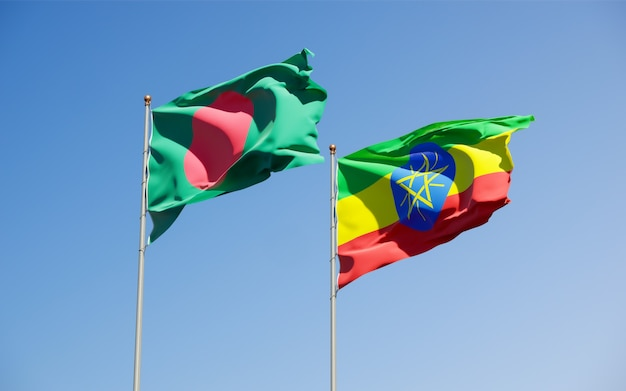 Flags of ethiopia and bangladesh. 3d artwork