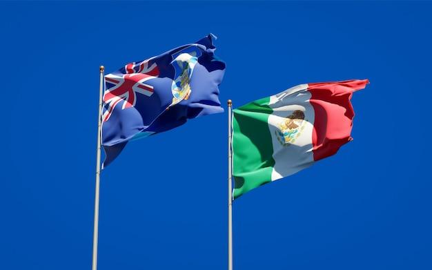 Flags of falkland islands and mexico. 3d artwork