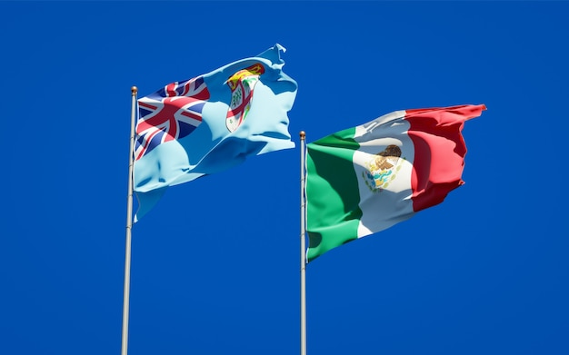 Flags of fiji and mexico. 3d artwork