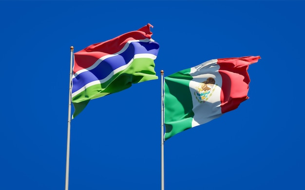 Flags of gambia and mexico. 3d artwork