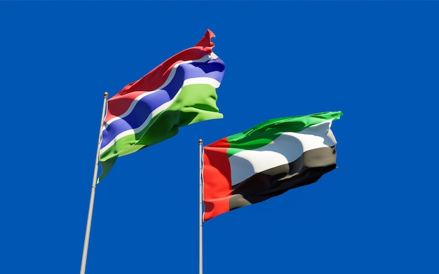 Flags of gambia and uae arab emirates