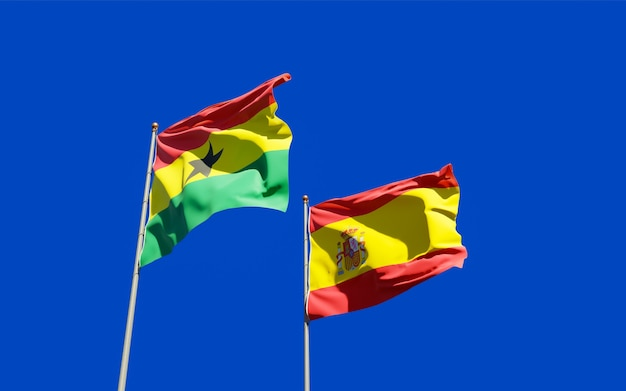 Flags of ghana and spain
