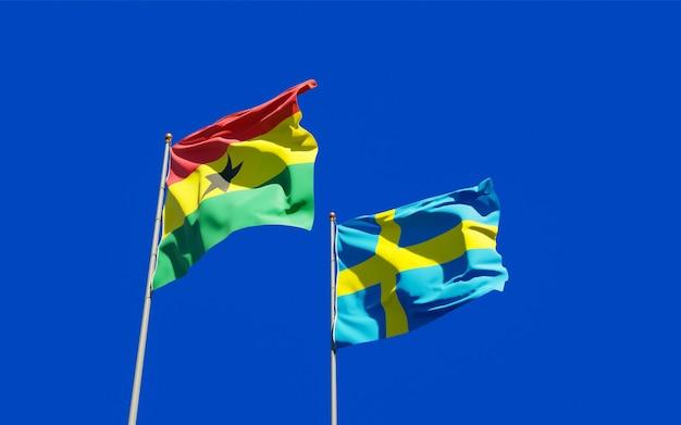 Flags of ghana and sweden. 3d artwork