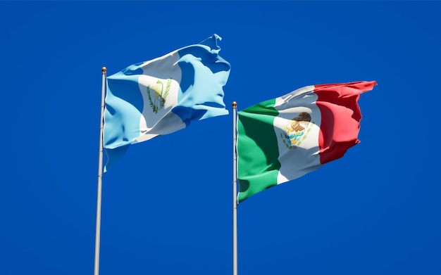 Flags of guatemala and mexico. 3d artwork