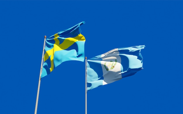 Flags of guatemala and sweden