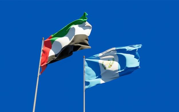 Flags of guatemala and uae arab emirates