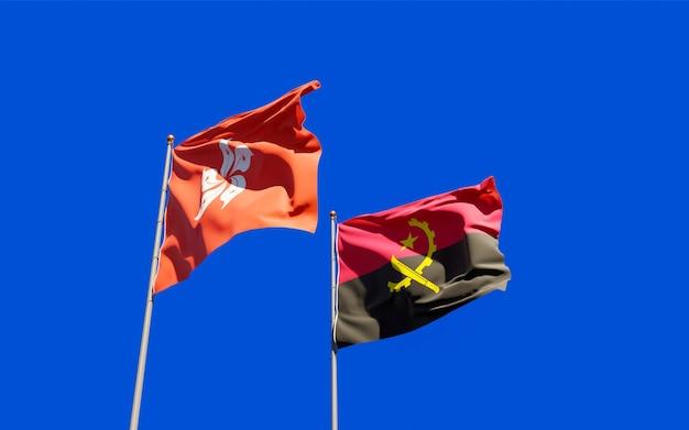 Flags of hong kong hk and angola. 3d artwork
