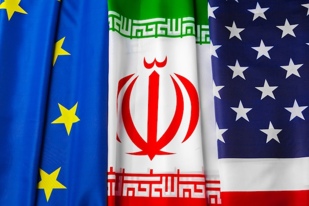 Flags of iran, european union and usa together