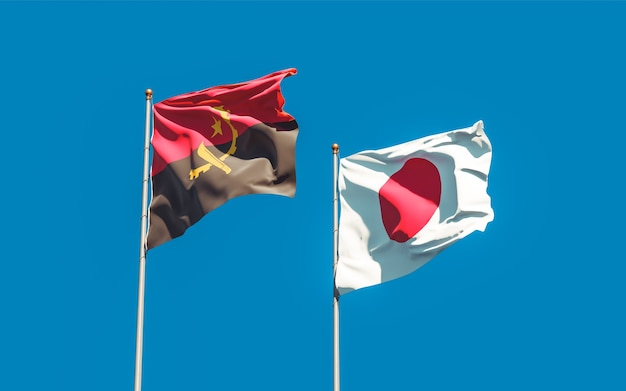 Flags of japan and angola. 3d artwork