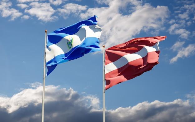 Flags of latvia and el salvador.