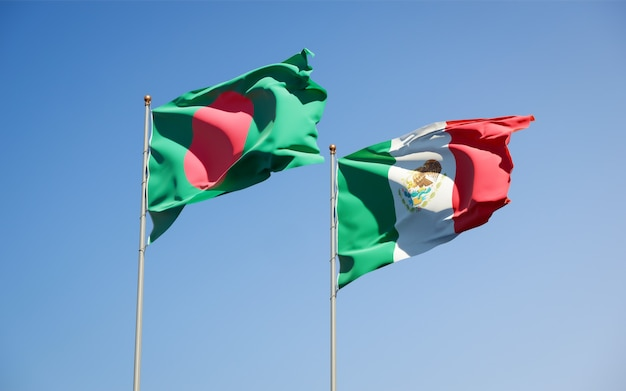 Flags of mexico and bangladesh. 3d artwork