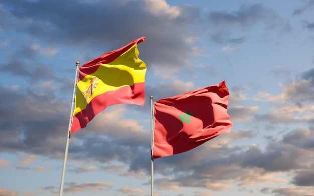 Flags of morocco and spain. 3d artwork
