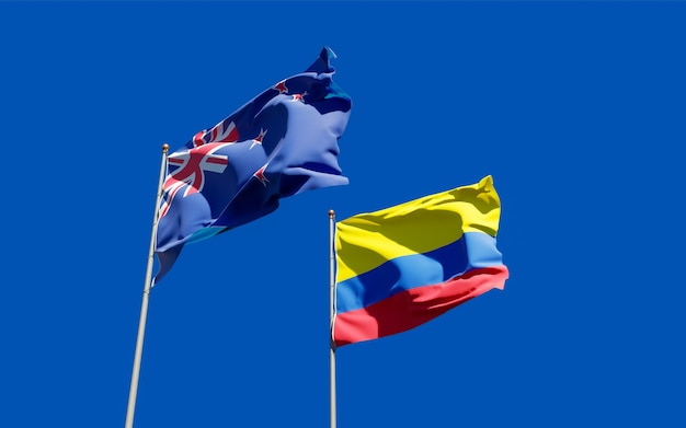 Flags of new zealand and colombia.