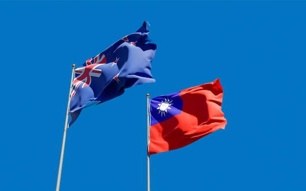 Flags of new zealand and taiwan.