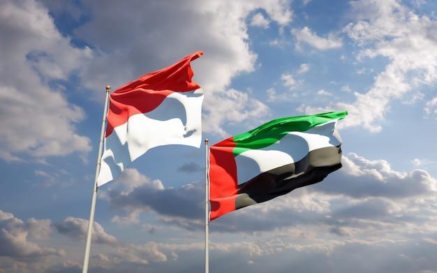 Flags of nigeria and uae arab emirates