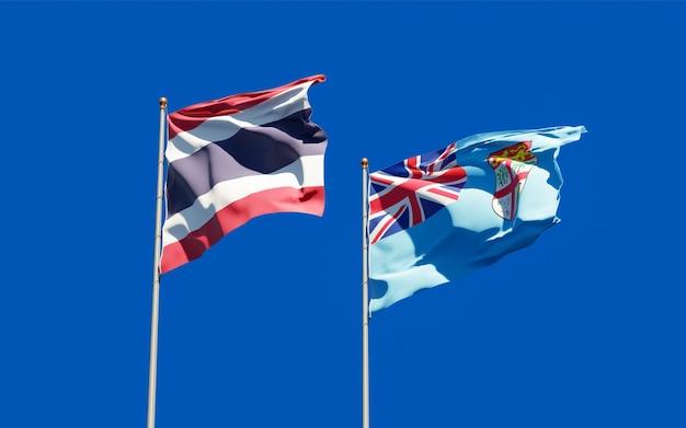 Флаги фиджи и таиланда. 3d изображение