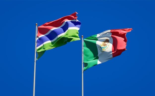 감비아와 멕시코의 깃발. 3d 아트 워크