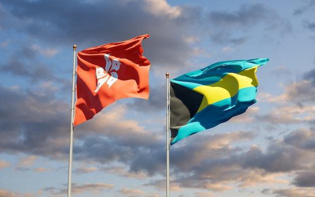 Флаги гонконга hk и багамских островов. 3d изображение