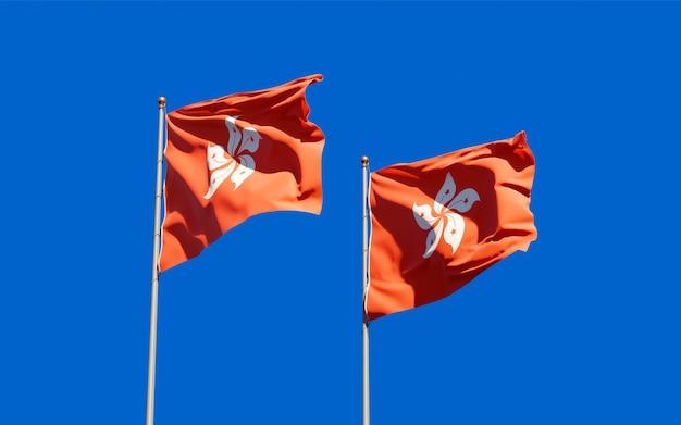 香港hkhkと香港hkの旗。