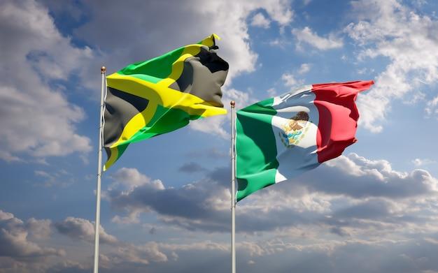 ジャマイカとメキシコの旗。 3dアートワーク