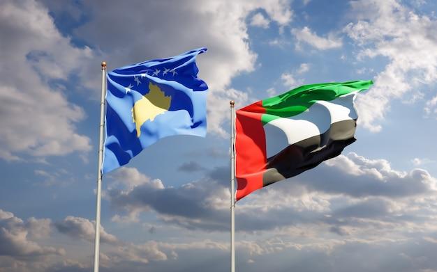 Флаги косово и оаэ арабских эмиратов