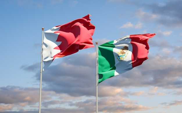 Флаги мексики и бахрейна. 3d изображение