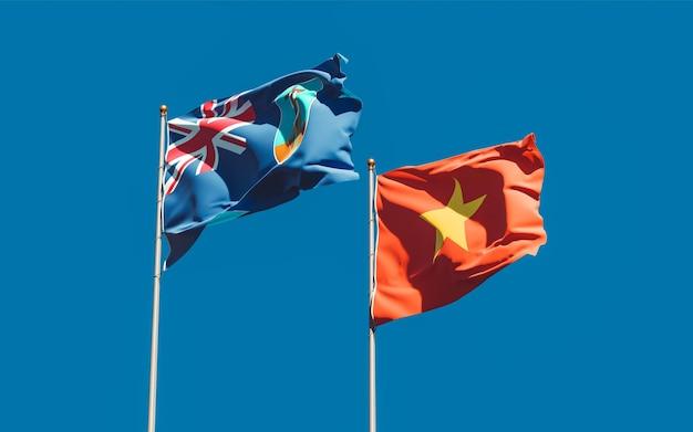 Флаги монсеррат и вьетнам на фоне неба