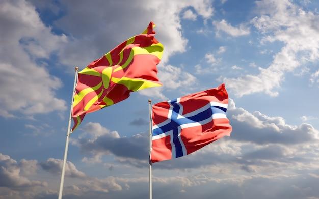 Флаги северной македонии и норвегии. 3d изображение