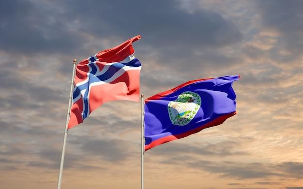 Флаги норвегии и белизе.