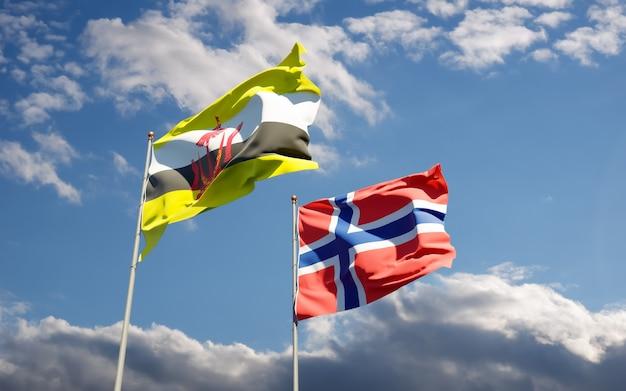 Флаги норвегии и брунея.