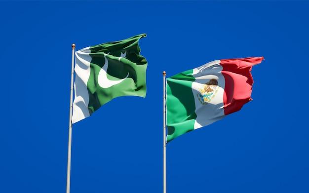 パキスタンとメキシコの旗。 3dアートワーク