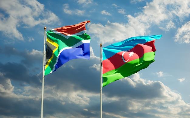 Флаги сар африки и азербайджана. 3d изображение