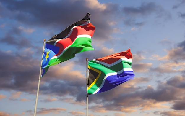 Флаги южного судана и сар африки. 3d изображение