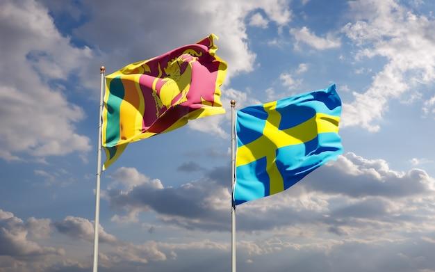 スリランカとスウェーデンの旗