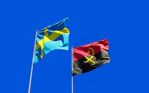 スウェーデンとアンゴラの旗。
