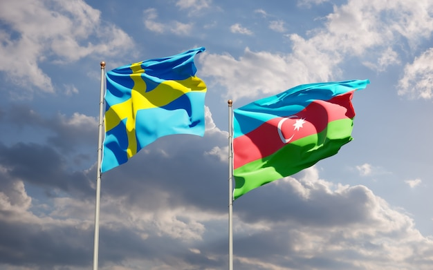 Флаги швеции и азербайджана.