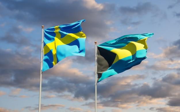 スウェーデンとバハマの旗。