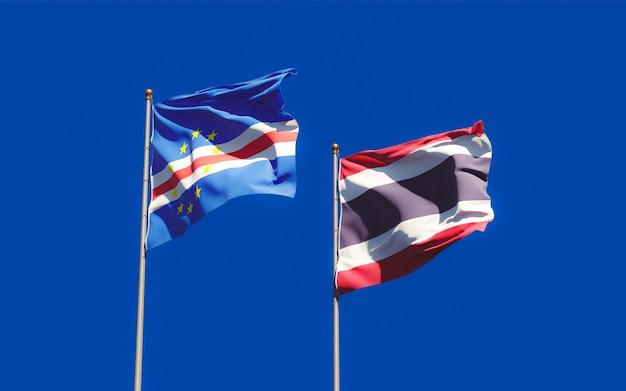 Флаги таиланда и кабо-верде. 3d изображение